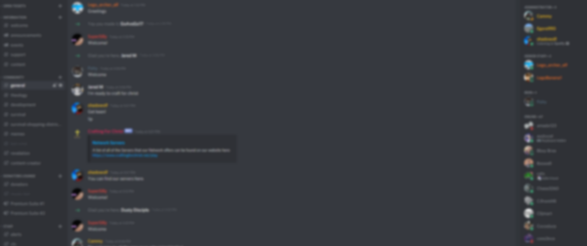 A blurred background of the Community Discord.